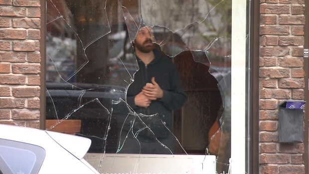 Five merchants were targeted by vandals overnight Sunday, their windows broken and interiors splattered with spray paint. There have been six waves of vandalism in the area this year alone.
